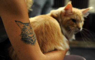 A woman holds her cat on August 6, 2011