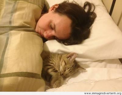 donna-che-dorme-con-il-gatto