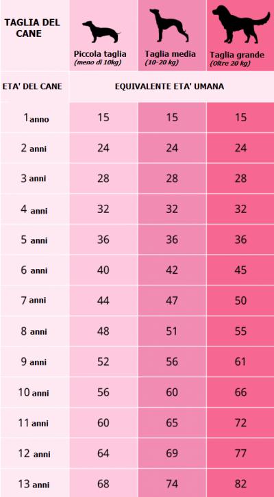 Come calcolare l'età dei cani | Tabella età dei cani ...