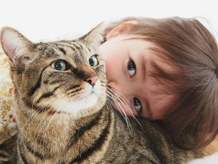 Gatto e bambini in famiglia