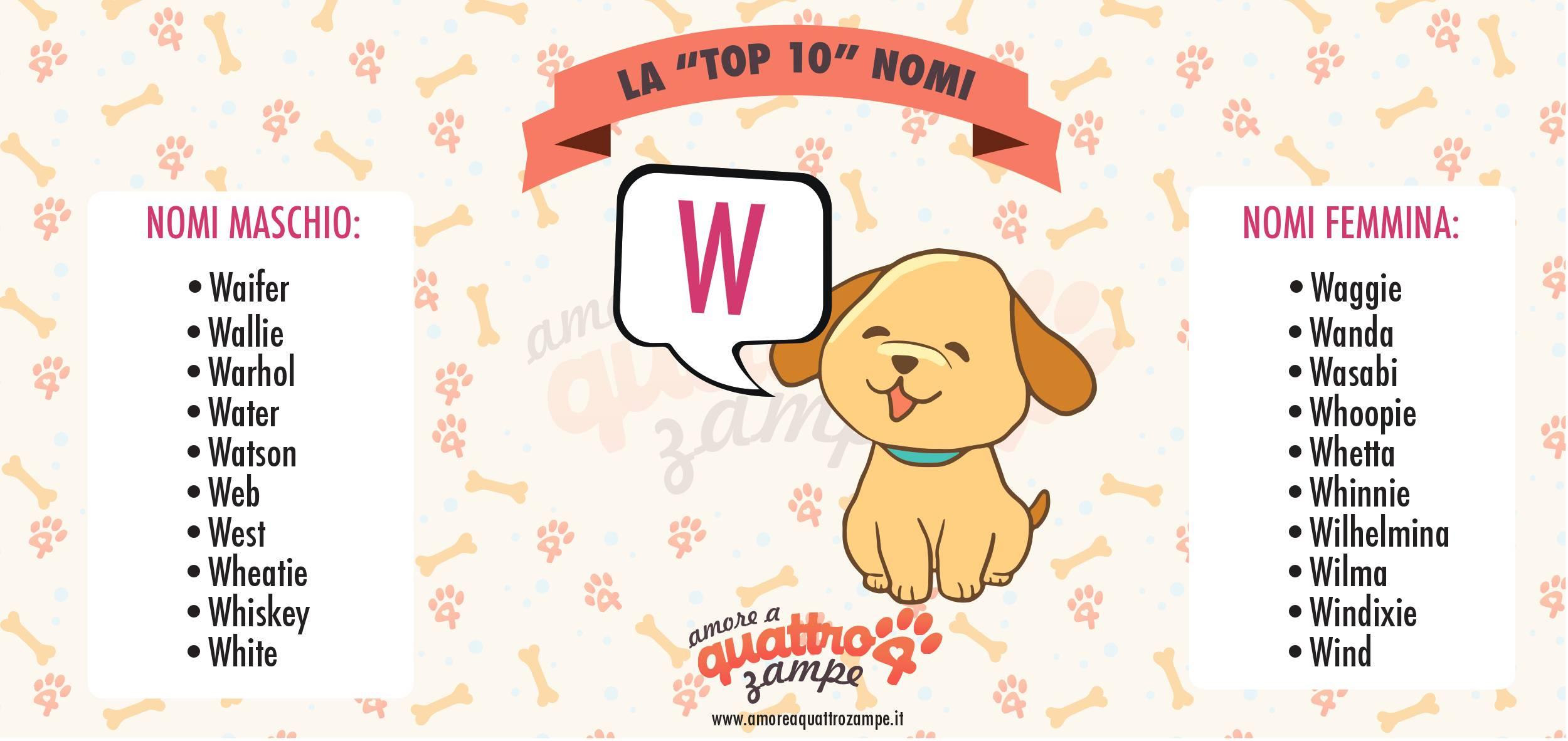 Infografica Top 10 nomi con la W
