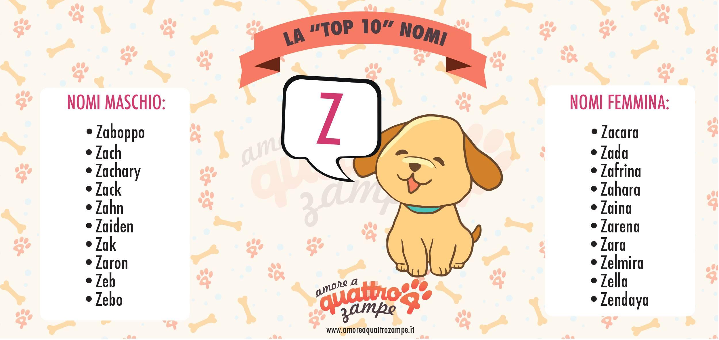 Infografica Top 10 nomi con la Z