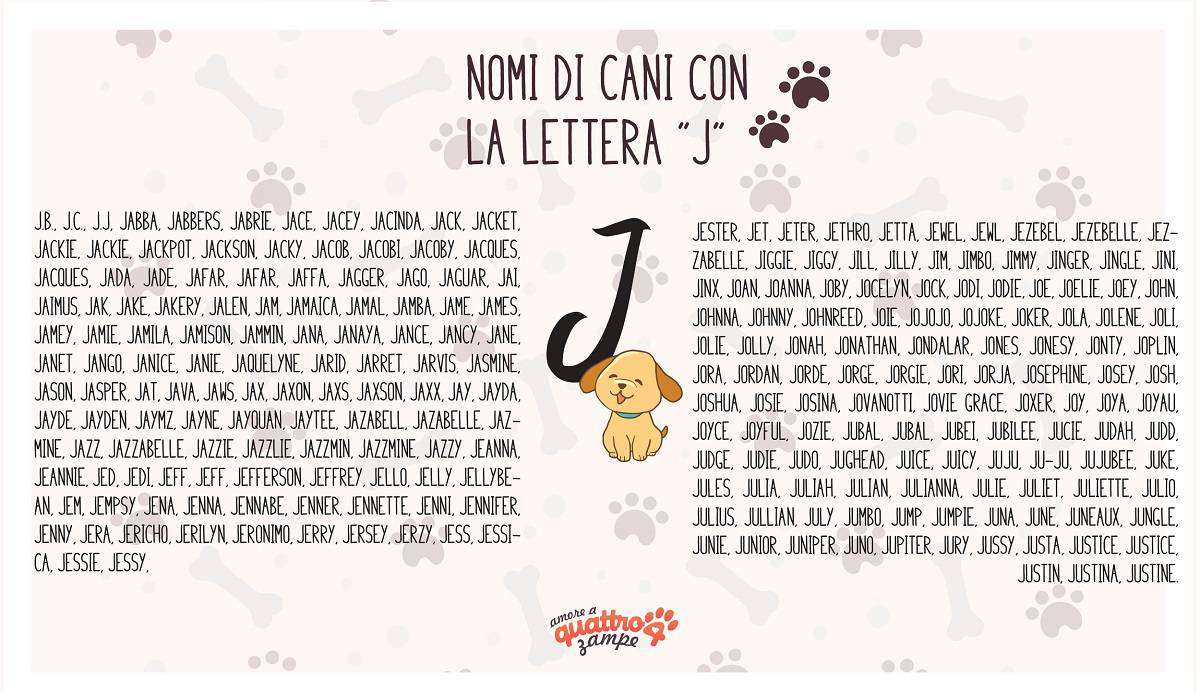 infografica nomi cane con la J