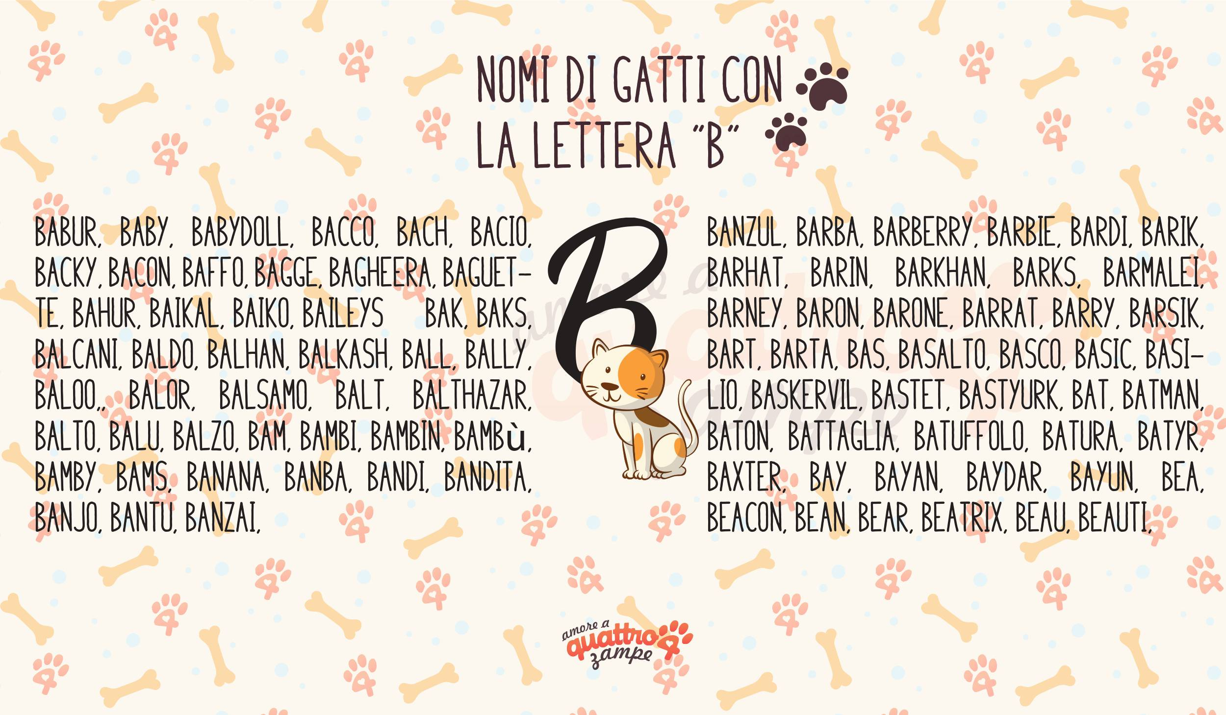 Infografica nomi gatti con la