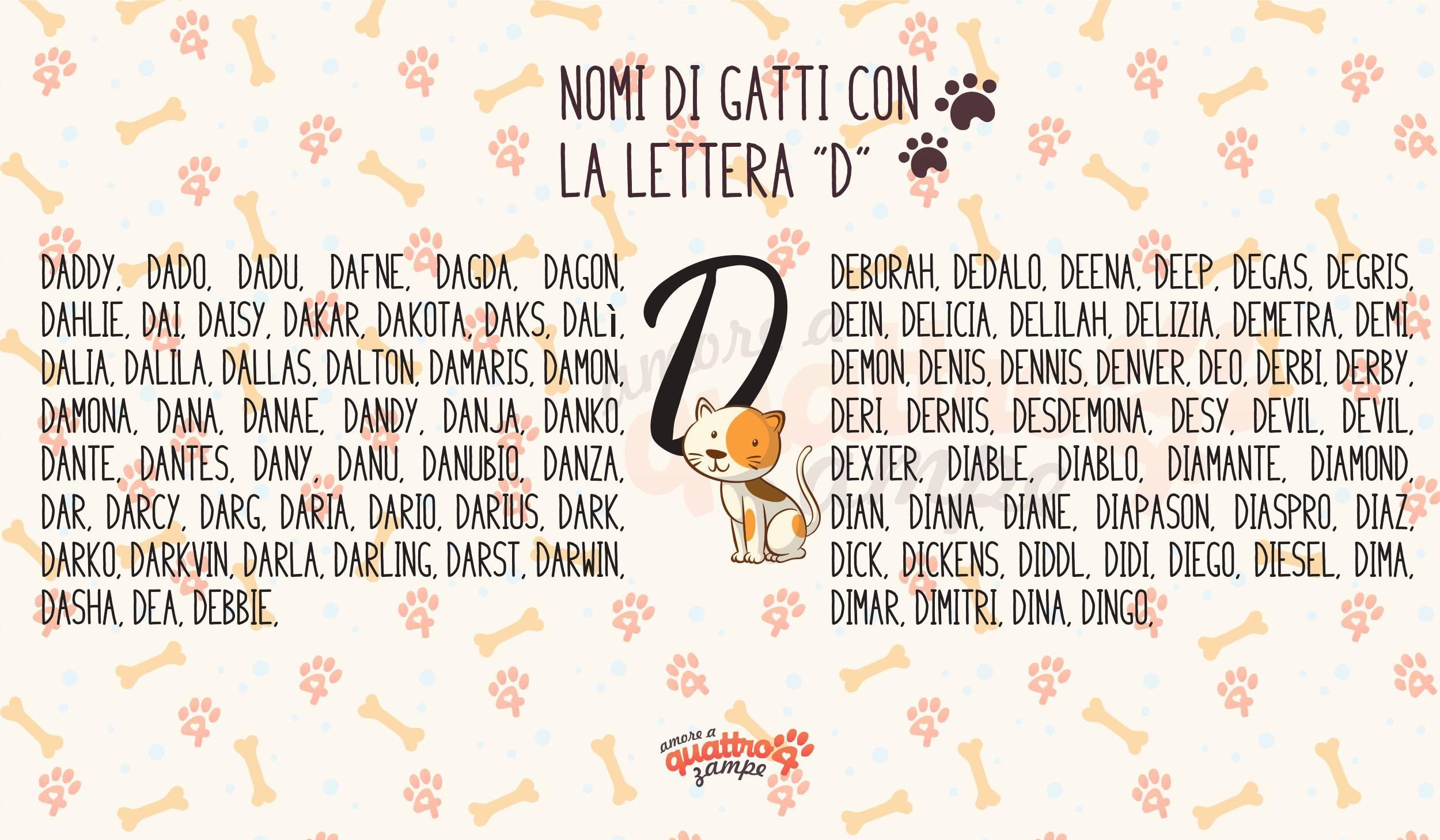 Infografica nomi  con la D