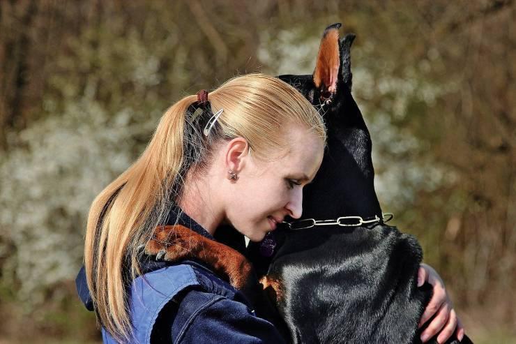 abbraccio cane- donna