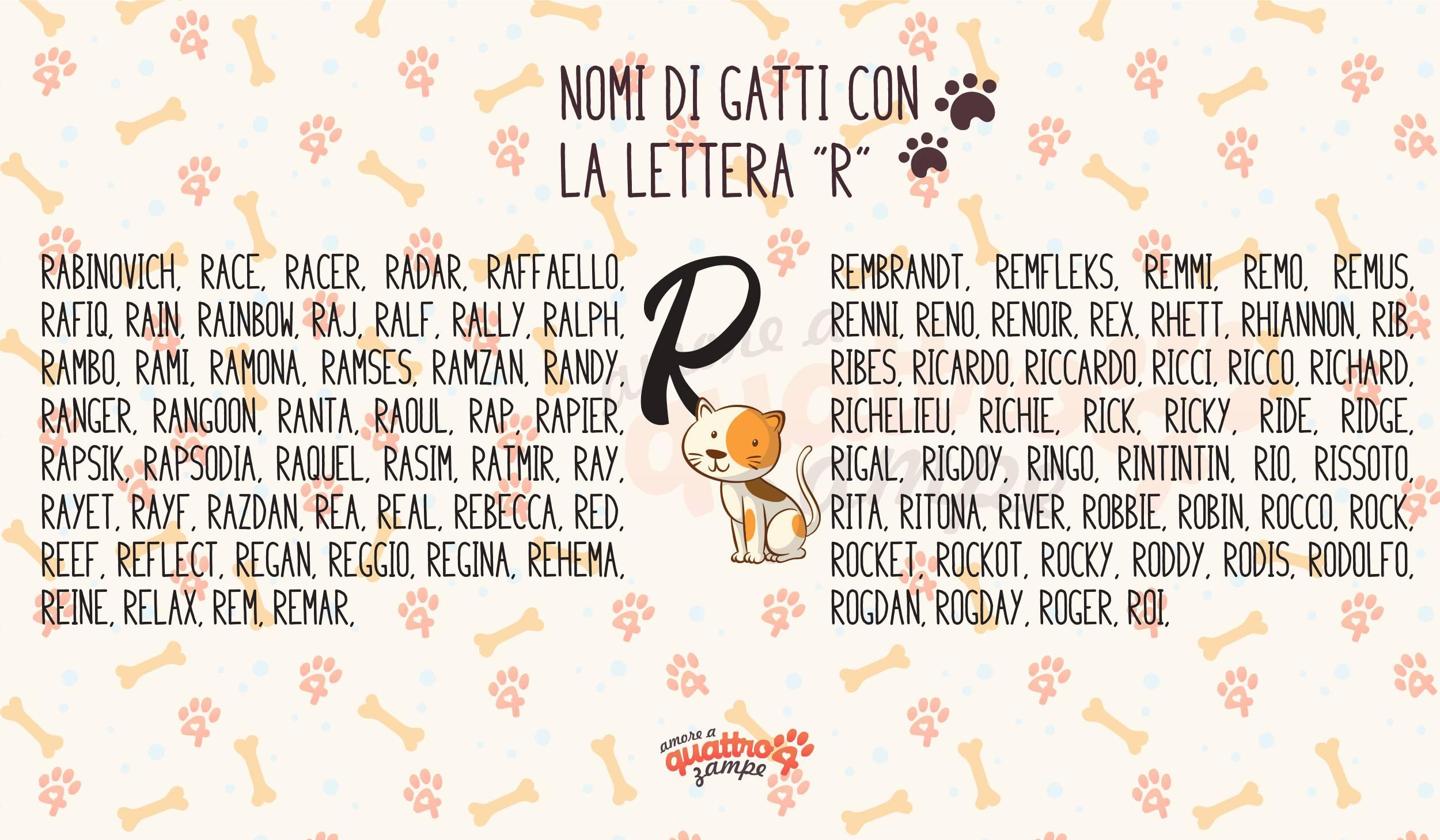 Infografica nomi gatti con la R
