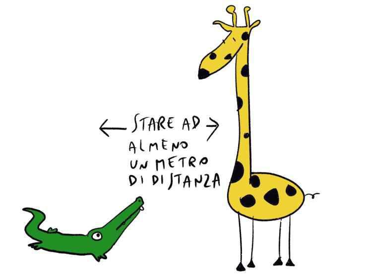 La giraffa e il coccodrillo (Foto Marco Milanesi)