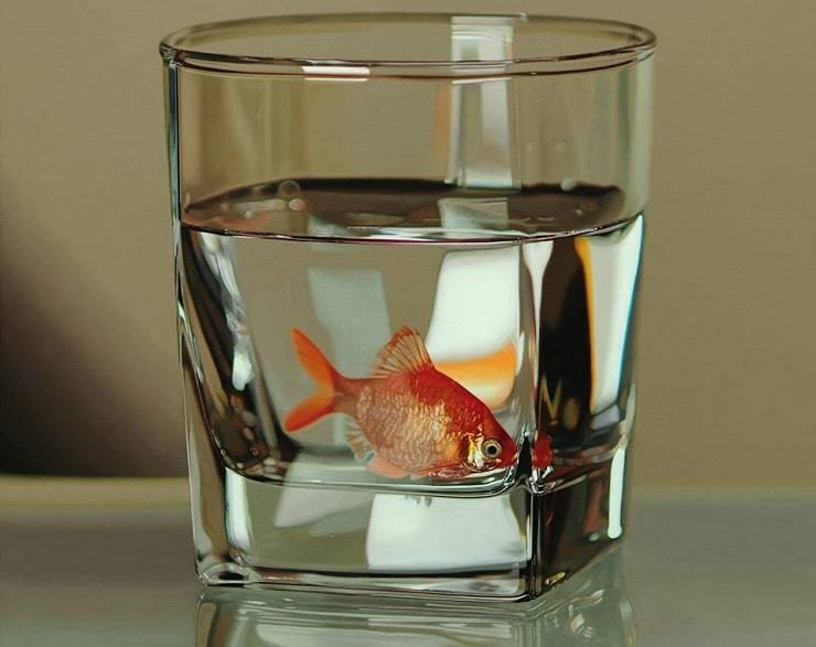 pesce in bicchiere