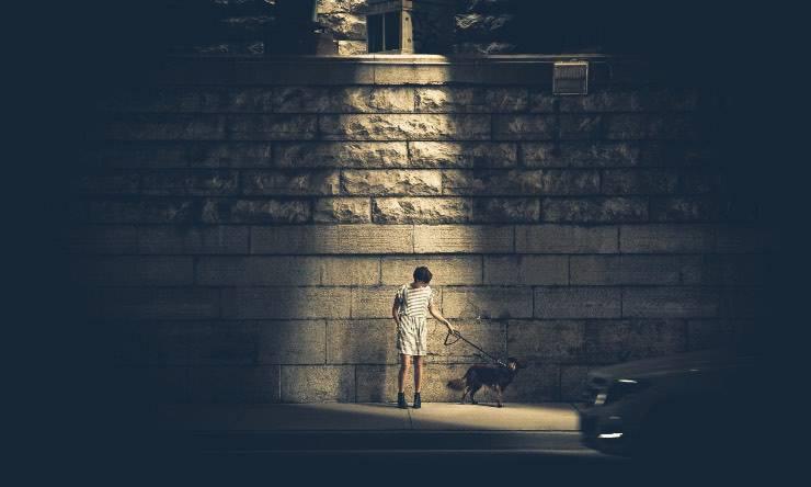 Cane con padrona nella notte