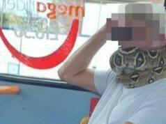 """Uomo sull'autobus """"indossa"""" un serpente vivo al posto della mascherina"""