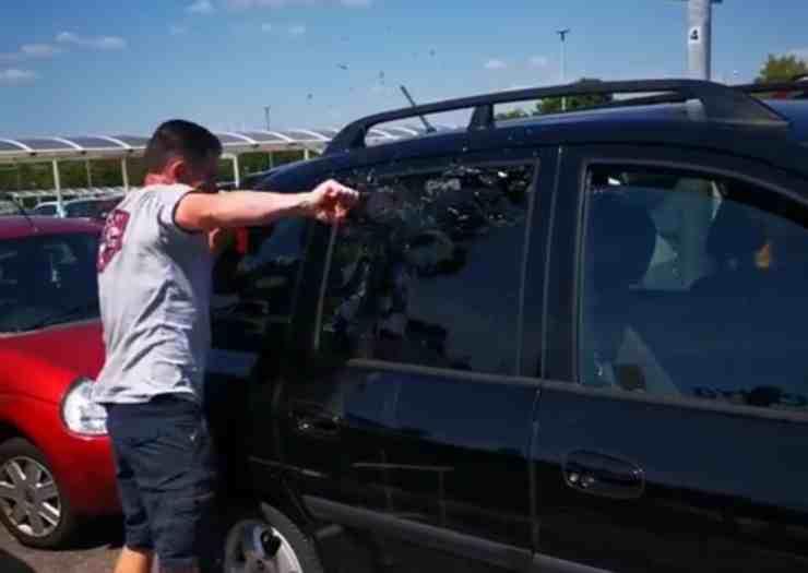 Cane lasciato dai proprietari in macchina sotto il sole cocente (screenshot Facebook)
