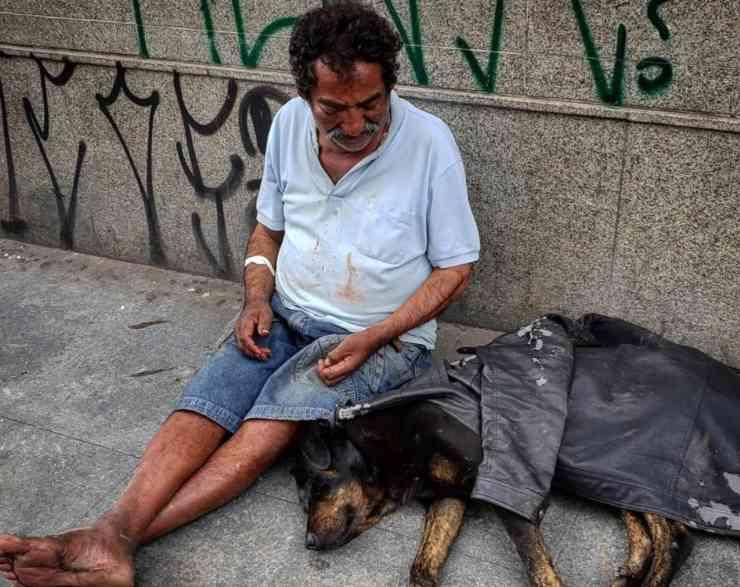 senzatetto cappotto cane randagio