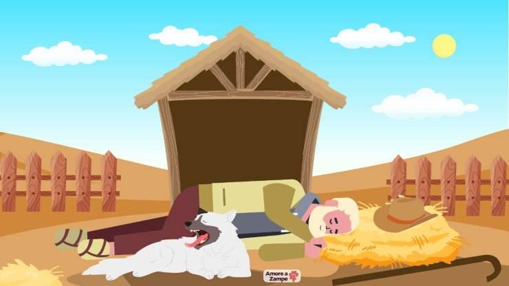Il pastore benino e il cane nel presepe di Natale