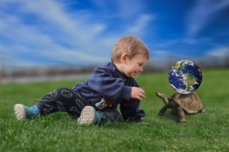 Bambino piccolo e tartaruga