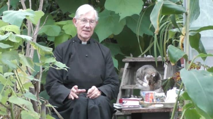 Gatto beve tazza di latte durante il sermone del prete