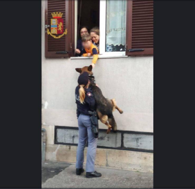 bambino finestra accarezzare cane polizia