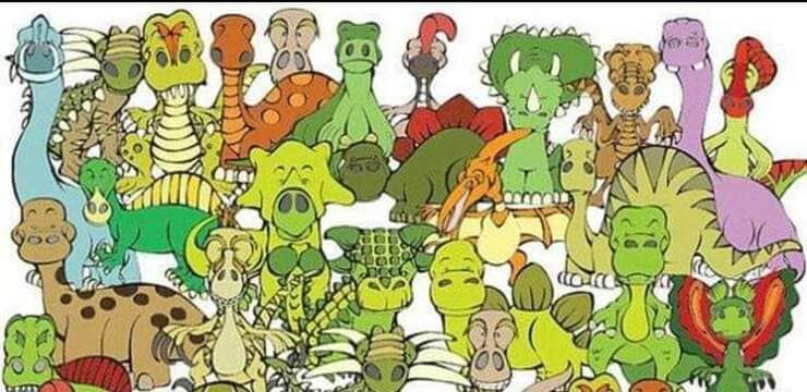 Test visivo trova la tartaruga nascosta tra i dinosauri