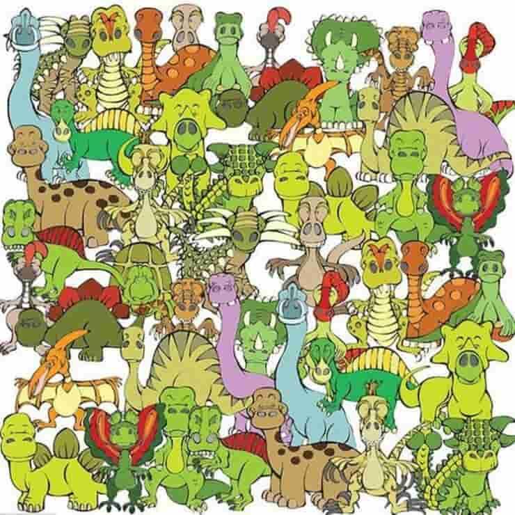 Il test visivo trova la tartaruga nascosta tra i dinosauri