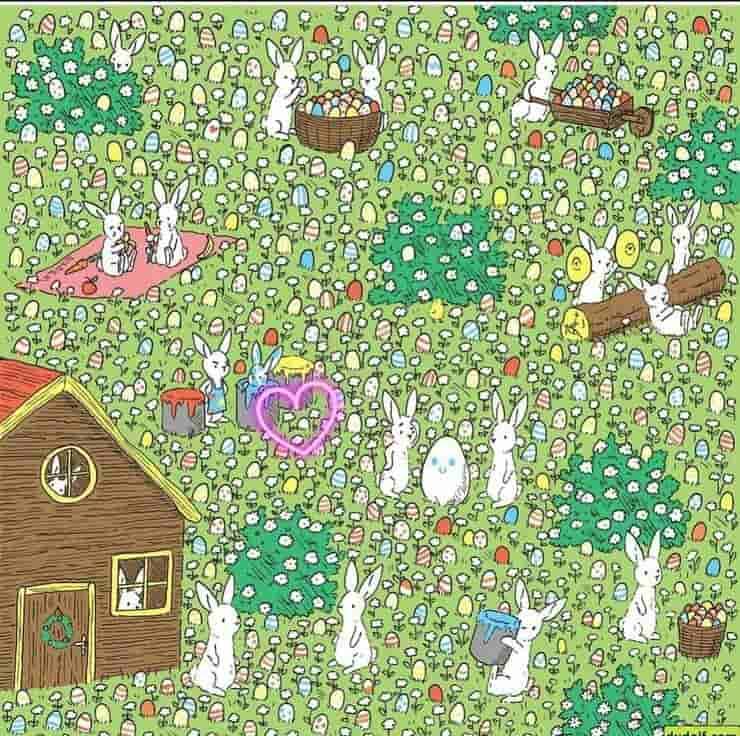 Soluzione Test visivo di Pasqua trova l'unico uovo bianco nascosto tra quelle colorate e i conigli