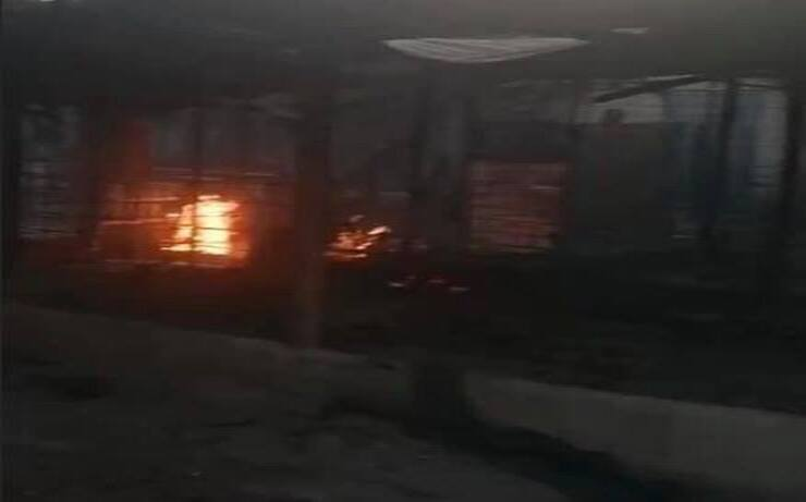 Rifugio in fiamme Cabras (Screen Facebook)