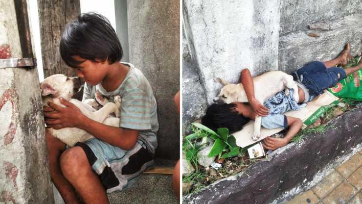 bambino canta ninna nanna cane
