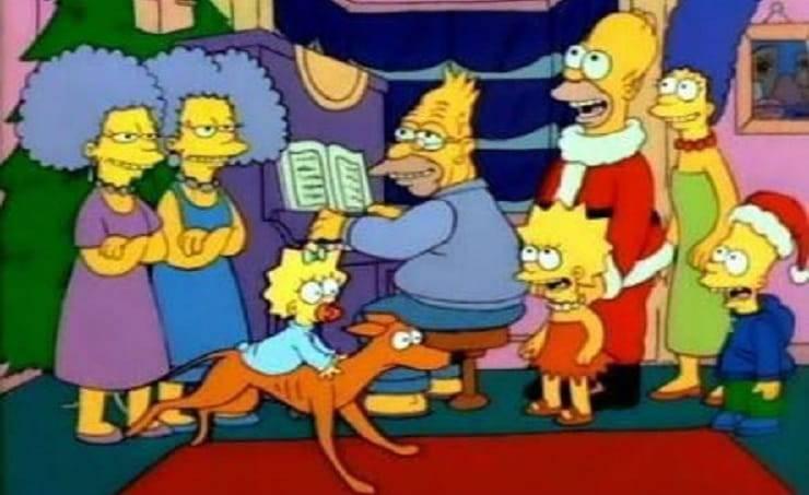 famiglia simpson con cane