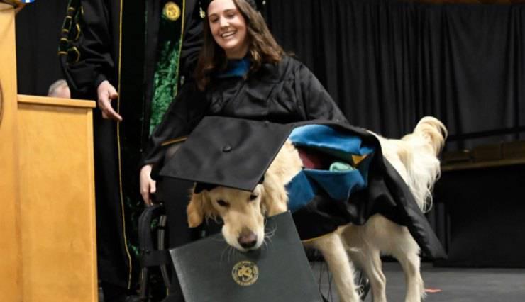 Il cane e la sua padrona durante la premiazione