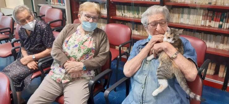 Ospiti della casa di riposo insieme a Dolly (Screen Facebook)